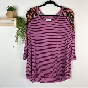 Maurice's 24/7 purple stripe and floral size 24